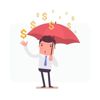 Personaje de hombre de negocios sujetando un paraguas