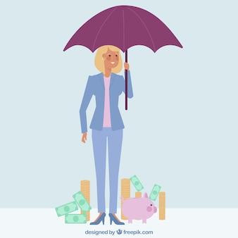 Personaje de mujer de negocios con paraguas y dinero