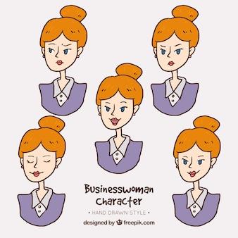 Personaje de mujer de negocios con variedad de gestos expresivos