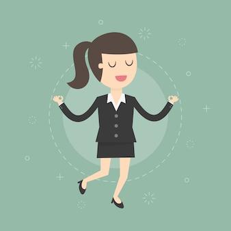 Personaje de mujer de negocios relajándose