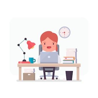 Personaje de mujer de negocios trabajando en una oficina