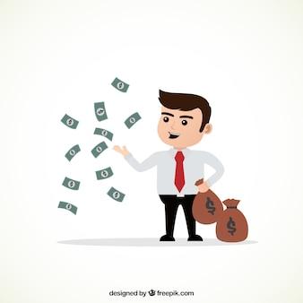 Personaje de negocios millonario