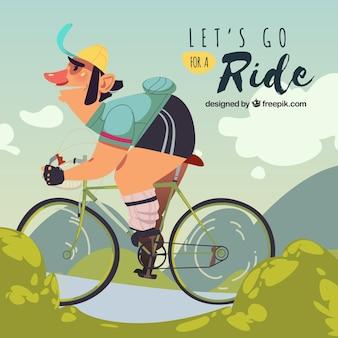 Personaje divertido montando en bicicleta