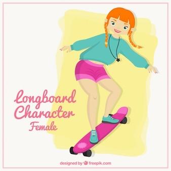 Personaje femenino de longboard