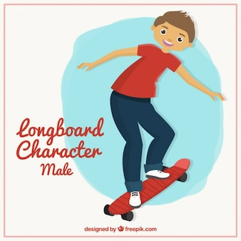Personaje masculino de longboard