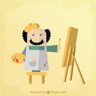 Personaje vectorial de pintor