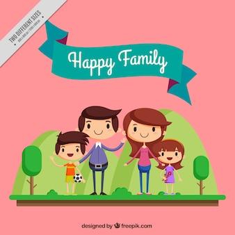 Personajes adorables de familia feliz