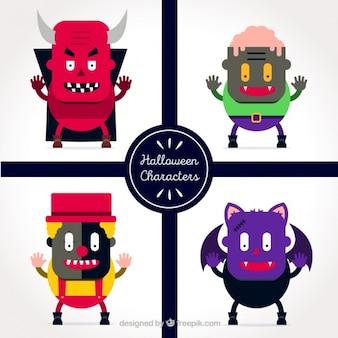 Personajes coloridos para halloween en estilo plano