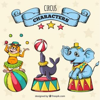 Personajes de circo dibujados a mano