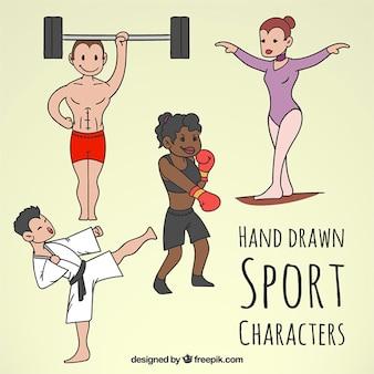 Personajes de deporte dibujados a mano