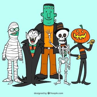 Personajes de halloween dibujados a mano