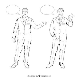 Personajes de hombre de negocios con diferentes posturas y burbujas de discurso