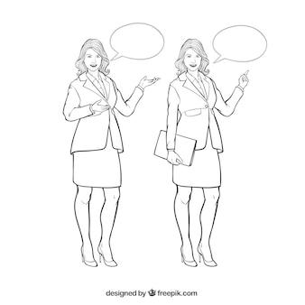 Personajes de mujer de negocios con burbujas de discurso