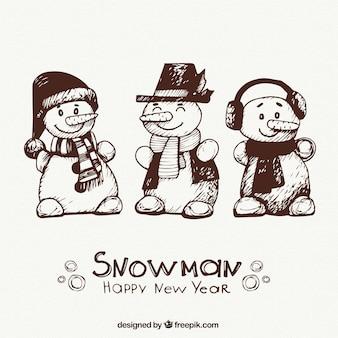 Personajes de muñeco de nieve dibujados a mano