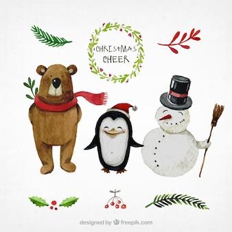 Personajes de navidad pintados a mano