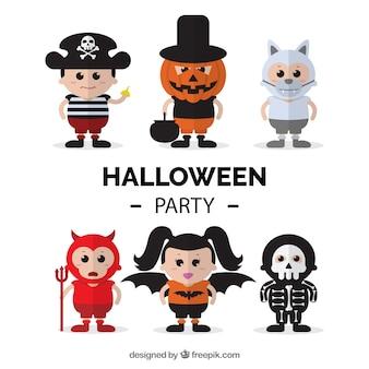Personajes de niños disfrazados de halloween