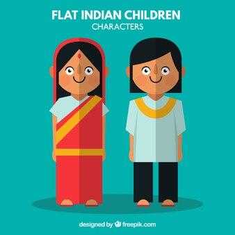 Personajes de niños indios planos