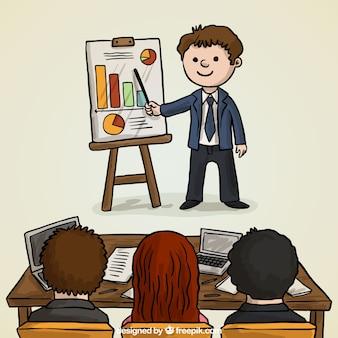 Personajes dibujados a mano en una reunión de negocios