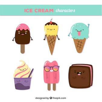 Personajes divertidos de helados