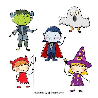 Personajes esbozados de halloween