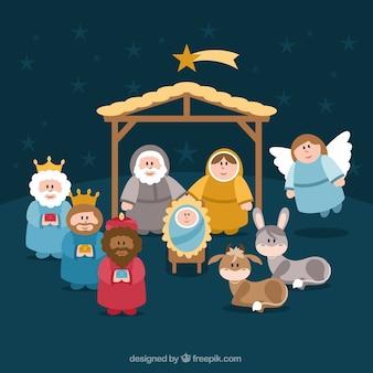 Personajes lindos de escena de la natividad