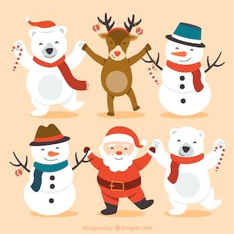 Personajes lindos de navidad felices