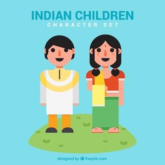 Personajes planos de niños indios