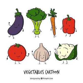 Personajes simpáticos de verduras dibujados a mano