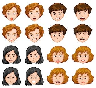 Personas con diferentes expresiones faciales
