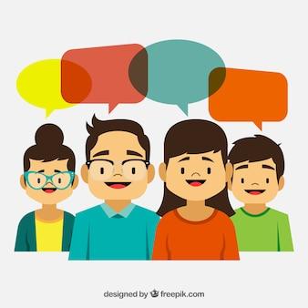 Personas de dibujos animados con globos de diálogo de colores