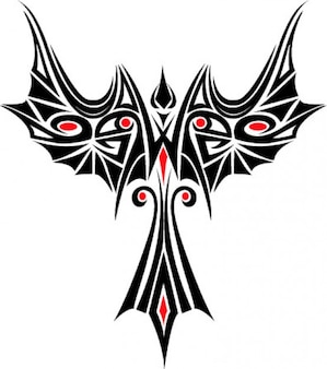 Phoenix tatoo plantilla vector icono