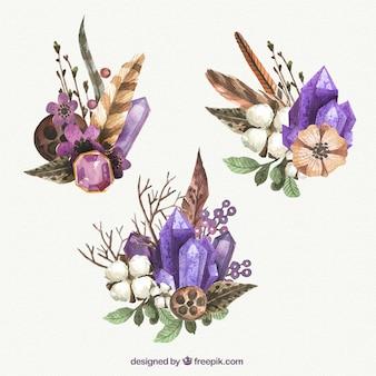 Piedras preciosas de acuarela con flores