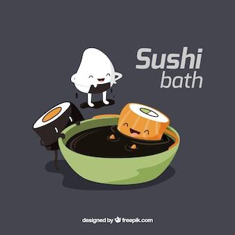 Piezas de sushi divertido que toma un baño de soja