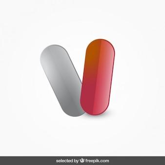 Píldoras aisladas rojas y grises