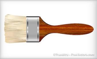 Pincel mango de madera de fondo blanco