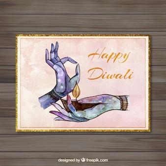 Pintada a mano la tarjeta de Diwali