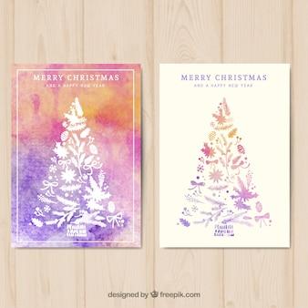 Pintada a mano tarjeta del árbol de navidad