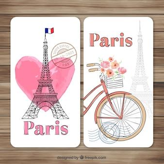 Pintadas a mano tarjetas de París