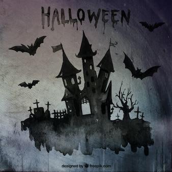 Pintado a mano castillo de halloween