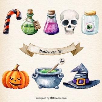 Pintado a mano conjunto de halloween