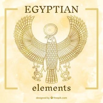 Pintado a mano elemento egipcio culturales