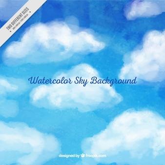 Pintado a mano fondo del cielo nublado