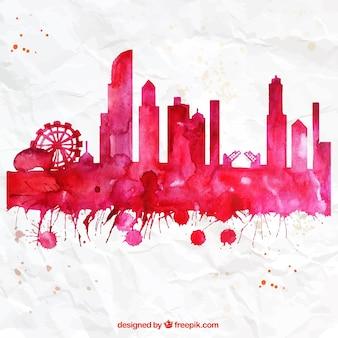 Pintado a mano horizonte de Chicago