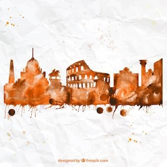 Pintado a mano horizonte de Roma