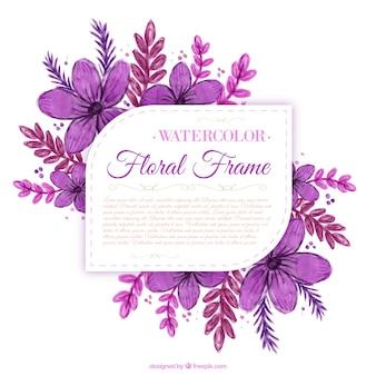 Pintado a mano las flores púrpuras etiqueta