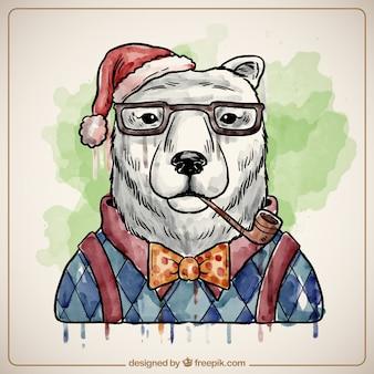 Pintado a mano oso polar de navidad