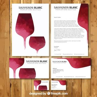Pintado a mano papelería de vino