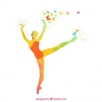Pintado a mano silueta de la bailarina