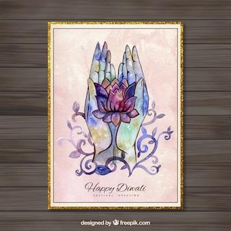Pintado a mano tarjeta Diwali feliz con las manos