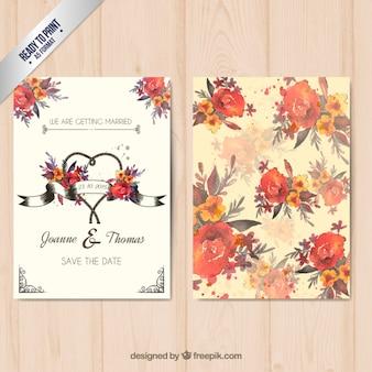 Pintado a mano tarjeta floral de boda